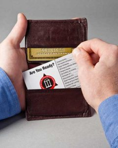 Emergency Response Credit Card sized Guidebook that fits in your wallet.